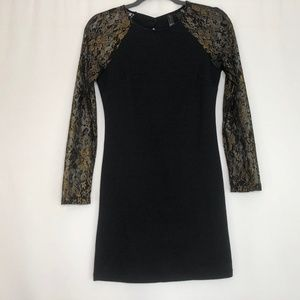 Petticoat Alley Black & Gold Metallic Lace Dress S